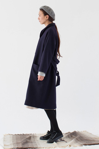 NAVY SHAWL COLLAR COAT