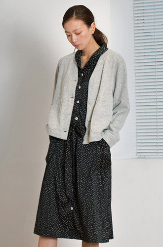 Wool Felt Cardigan_marble_grey
