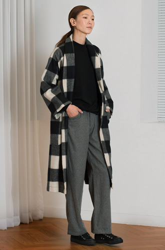 GINGHAM SHAWL COLLAR COAT
