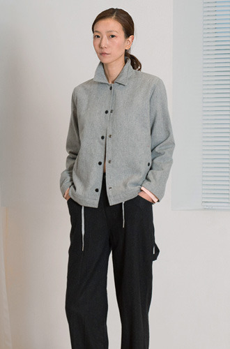 WOOL COACH JACKET_MARBLE GREY